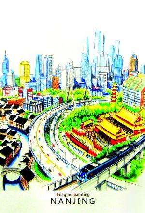 城市音乐广场手绘图